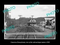 OLD LARGE HISTORIC PHOTO OF CATAWISSA PENNSYLVANIA, RAILROAD DEPOT STATION c1950