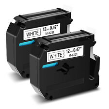 2pk Black On White Label Tape For Brother M K231 Mk231 M231 P Touch Pt 85 12mm
