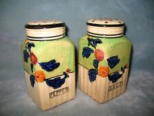 """Antique Pottery Salt and Pepper Shakers large 5"""" art deco"""