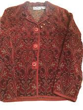 Vtg Flashback Women's Long Sleeve Red Wine Tapestry Boho Blazer Jacket Size L