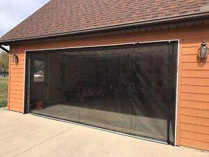ZIP-ROLL BRAND,  ROLL-UP GARAGE DOOR SCREEN, 10' X 7'-90 DEGREE CORNERS