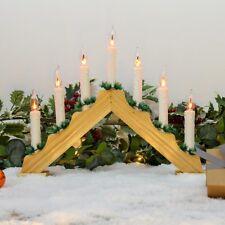 37cm Wooden Flickering LED Candle Bridge | Home Indoor Window Table Decoration