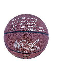 """Magic Johnson """"Multi Inscription"""" Spalding Indoor/Outdoor Signed Basketball Jsa"""