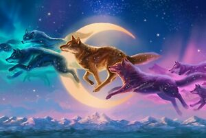 Fantasy Wolves Moon Animals Colourful Home Decor Wall Art Poster/Canvas Picture