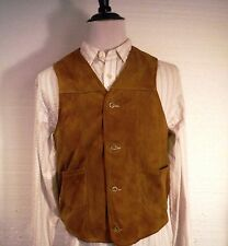 Vintage Orvis Mens Soft Suede Leather Brown Vest Men's Medium M Vermont USA