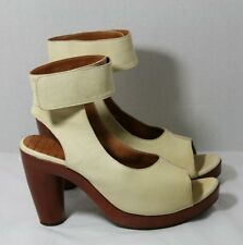 CHIE MIHARA SHOES ANKLE WRAP SHOOTIES PEEP TOE PLATFORM HEELS BUTTER LT YELLOW