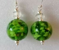 Vintage Venetian Bright Green Sommerso Bead Silver 925 Earrings Match Necklace