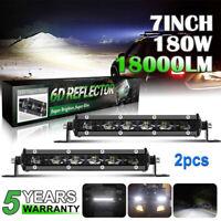 2pcs 7inch 180W Barre LED Rampe Light bar phare de travail SUV ATV 4x4 Offroad