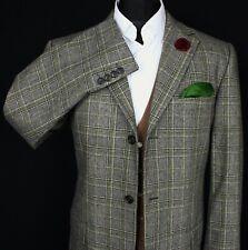 Blazer Jacket Grey ESPRIT Windowpane Check Wedding 42R AMAZING GREEN LINING 2470