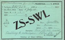 Old QSL card from ZS-SWL A Viljoen Germiston Transvaal South Africa, 6 July 1948