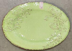 Aphorism Lime Green Rustic Floral Print MELAMINE Large Serving Tray Platter