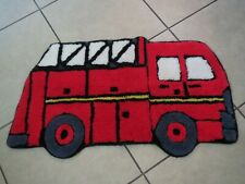 """Fire Engine Truck Shaped  Area Throw Rug Childs room preowned 35"""" x 20"""""""