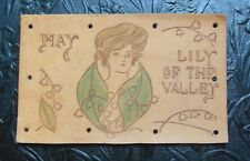 Pretty Gibson Girl Head/Lily of Valley-Month of MAY Antique LEATHER Postcard
