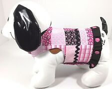 Dog Pet Clothes Harness SZ SM 4.5 to 6 LBS NEW Handmade Girl Pink & Black Print