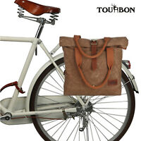 Tourbon Wax Canvas&Leather Rolltop Shoulder Bag Bike Bag Clip on Rear Pannier