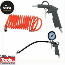 Druckluftpistole Set 3 teilig Druckanzeige Reifenfüller Schlauch Kompressor