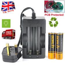 2 X BORUiT 18650 2200mah 3.7v Li-ion Rechargeable PCB Battery 3 Pin UK Charger