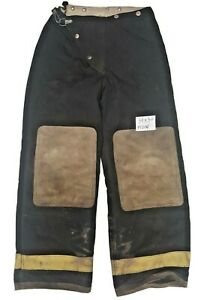 30x30 Globe Black Firefighter Turnout Pants with Yellow Reflective Tape P1200