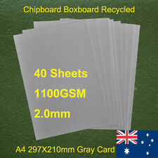 40 X A4 Chipboard Boxboard Cardboard Recycled Gray Card 1100gsm 2.0mm