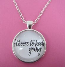 Semi Colon Choose To Keep Going Silver Necklace New Gift Bag Mental Health