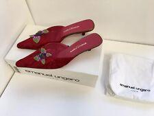 Emanuel  Ungaro Velvet Burgundy Mules / Shoes   US Size 9 M Brand New