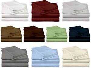 """Soft Luxury Cotton Bed Sheet Set 600 TC 15"""" Drop All Color Size Ultrafine Feel"""