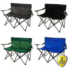 2 SEATER DOUBLE CAMPING CHAIR OUTDOOR FOLDING LIGHTWEIGHT PORTABLE CUP HOLDERS