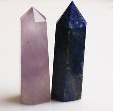 NATURAL LAPIS LAZULI and Amethyst QUARTZ CRYSTAL WAND POINT HEALING 281g