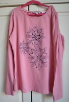 Girls Fat Face Snowflake Pink T-shirt Long Sleeve Top 12-13 years Christmas
