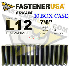 "L Staples L12 Galv 18 gauge 1/4"" crown 7/8"" length (fits Hit/Sen) case qty 10"