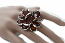 Women Silver Metal Ring Fashion Jewelry Knuckle One Size Band Brown Beads Flower