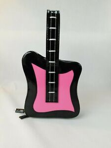 Hot Pink Patent Leather Guitar Purse Full Zip Hard Exterior Body Super CUTE
