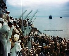 "Japanese leaders signing surrender USS Missouri Color 8""x 10"" WWII Photo 233"