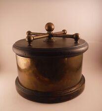 Vintage Large Heavy Steampunk Wood Brass Round Storage Trinket Display Box WOW!