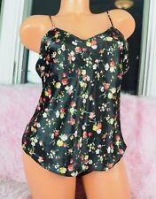 VTG Black Floral Satin Sissy Shiny Camisole Nightie Sexy Slip Top sz S/M