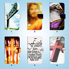 Jesus Cross Bible Wallet Case Samsung Galaxy S3 4 5 6 7 8 Edge Note Plus 037