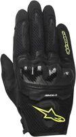 Alpinestars SMX-1 Air Short Mens Mesh Motorcycle Gloves Black Yellow Fluo