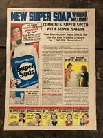 RARE Vintage 1939 Super Suds Laundry Soap AD Color Illustrations 11.5x15 Inch