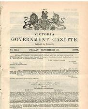 Government Gazette (Vic)...No.100...Sept 1886...Trade-Marks, Land Sales...