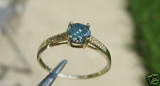 & Diamond Ring, Engagement Wedding Ring 10k .73ctw Yellow Gold Blue Moissanite