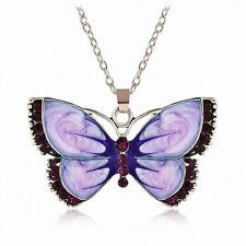 Women Fashion Butterfly Crystal Jewelry Enamel Silver Pendant Necklace Chain