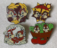 Lot of 4 Disney Pins CHIP & DALE Hidden Mickey Pins 2007 2008