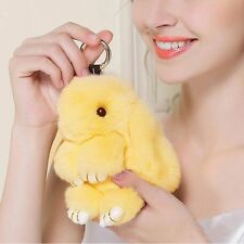 Bunny Rex Rabbit Fur Car Handbag Keychain Pom Doll Ball KeyChain Pendant Yellow
