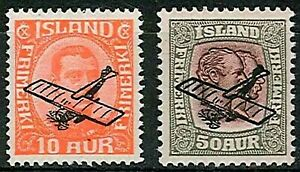 ICELAND 1928/9  AIRS  (2)  sg 156-157  VERY LIGHT HINGE