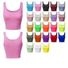 FashionOutfit Women's Junior Sized Solid Scoop Neck Sleeveless Crop Tank Top