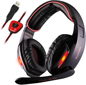 Sades USB 7.1 Stereo Surround Sound Gaming Headset with Mic, LED Light&Noise Can