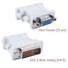 BEIGE DVI-I 24+5 Pin Male To 15 Pin VGA Female Adapter Convertor