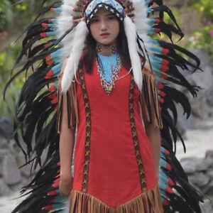 Mens Womens Green headdress indian headpiece headband Helloween festival costume