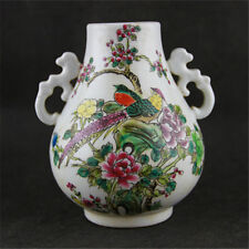 Collect China Wucai Old Porcelain Flower Bird Jar Bottle Pot Crock Container Jar