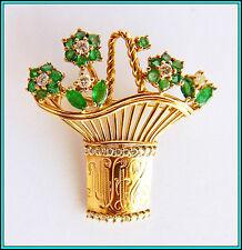 18K GOLD - DIAMONDS & EMERALDS Flower Basket Brooch UNUSUAL & DIFFERENT